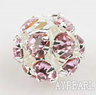 Rhinestone round beads, 6mm, silver-plated, purple. Sold per pkg of 100