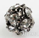 Rhinestone round beads, 8mm, silver, clear. Sold per pkg of 100.