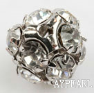 Rhinestone round beads, 10mm, silver, clear. Sold per pkg of 100.