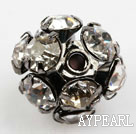 Rhinestone round beads, 10mm, black, clear. Sold per pkg of 100.