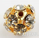 Rhinestone round beads, 10mm, golden, clear. Sold per pkg of 100.