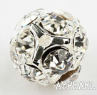 Rhinestone round beads, 12mm, silver, clear. Sold per pkg of 100.