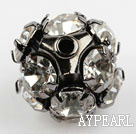 Rhinestone round beads, 12mm, black-plated, clear. Sold per pkg of 100.