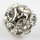 Rhinestone round beads, 14mm, silver, clear. Sold per pkg of 100.
