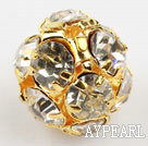 Rhinestone round beads, 14mm, golden-plated, clear. Sold per pkg of 100.
