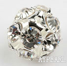 Rhinestone round beads, 16mm, silver, clear. Sold per pkg of 100.