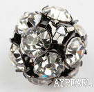 Rhinestone round beads, 16mm, black-plated, clear. Sold per pkg of 100.