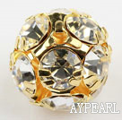 Rhinestone round beads, 16mm, golden-plated, clear. Sold per pkg of 100.
