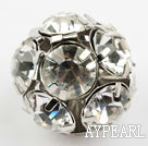 Rhinestone round beads, 20mm, silver, clear. Sold per pkg of 100.