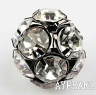 Rhinestone round beads, 20mm, black, clear. Sold per pkg of 100.