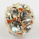Rhinestone round beads, 20mm, golden, clear. Sold per pkg of 100.