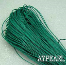 Cotton Wax Cord, Deep green,1mm/strand, about 540m/bundle ,sold by each.