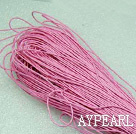 Cotton Wax Cord, Pink, 1mm/strand, about 540m/bundle ,sold by each.