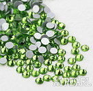 Rhinestone cabochon, light green, silver-foil back ,3.0-3.2mm faceted round, SS12. Sold per pkg of 1440.