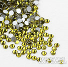 Rhinestone cabochon, olive, silver-foil back ,3.0-3.2mm faceted round, SS12. Sold per pkg of 1440.