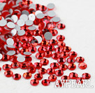 Rhinestone cabochon, red, silver-foil back ,3.0-3.2mm faceted round, SS12. Sold per pkg of 1440.