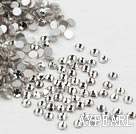Rhinestone cabochon, white, silver-foil back ,3.0-3.2mm faceted round, SS12. Sold per pkg of 1440.
