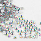 Rhinestone cabochon, AB COLOR, silver-foil back ,3.0-3.2mm faceted round, SS12. Sold per pkg of 1440.