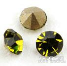 Rhinestone Cabochon, olive green, 3.4-3.5mm faceted round, SS14,PP27. Sold per pkg of 1440pcs.