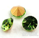 Rhinestone Cabochon, light green, 3.4-3.5mm faceted round, SS14,PP27. Sold per pkg of 1440pcs.