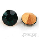 Rhinestone Cabochon, green, 3.4-3.5mm faceted round, SS14,PP27. Sold per pkg of 1440pcs.