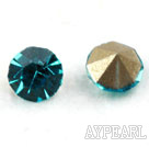 Rhinestone Cabochon, sea blue, 3.4-3.5mm faceted round, SS14,PP27. Sold per pkg of 1440pcs.