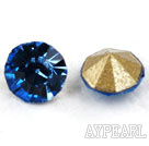 Rhinestone Cabochon, light blue, 3.4-3.5mm faceted round, SS14,PP27. Sold per pkg of 1440pcs.