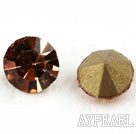 Rhinestone Cabochon, coffee color, 3.4-3.5mm faceted round with, SS14,PP27. Sold per pkg of 1440pcs.