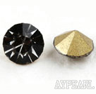 Rhinestone Cabochon, black, 3.4-3.5mm faceted round, SS14,PP27. Sold per pkg of 1440pcs.