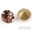 Rhinestone Cabochon, champagne color, 3.4-3.5mm faceted round, SS14,PP27. Sold per pkg of 1440pcs.