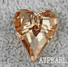 austrian crystal beads, 17mm heart, gold, sold per pkg of 2