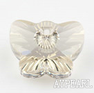 austrian crystal beads,18mm butterfly ,silve champagne, sold per pkg of 2