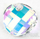 austrian crystal beads,18mm slice,AB color, slided drill,sold per pkg of 2