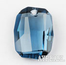 Austrain crystal pendants, blue, 28mm  heterotypic hyphosis. Sold per pkg of 2.