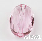 Austrain crystal beads, pink, 14mm  hole-drilled oval shape, Sold per pkg of 2.