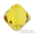 Austrian crystal beads, 4mm bicone yellow. Sold per pkg of 1440