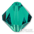 Austrain crystal beads, green, 6mm bicone. Sold per pkg of 360.