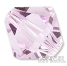 Austrain crystal beads, pink, 6mm bicone. Sold per pkg of 360.