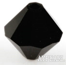 Austrain crystal beads, black, 8mm bicone. Sold per pkg of 360.