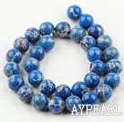 Imperial jasper beads, blue, 12mm round. Sold per 15.16-inch strand.