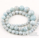Aquamarine beads,sea blue, 6-8-10-12-14mm round,tower. Sold per 15.16-inch strand