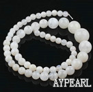 Moonstone beads, white, 5-6-8-10-12mm round, tower. Sold per 15.35-inch strand