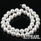 Sea shell beads, white, 10mm faceted round. Sold per 15.16-inch strand.