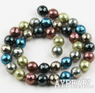 Sea shell beads, multi color, 10mm faceted round. Sold per 15.16-inch strand.