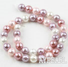 Sea shell beads, pink, 10mm faceted round. Sold per 15.16-inch strand.