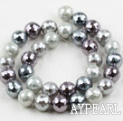 Sea shell beads, gray, 12mm faceted round. Sold per 15.16-inch strand.