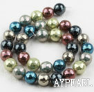 Sea shell beads, multi color, 12mm faceted round. Sold per 15.16-inch strand.
