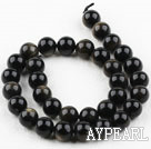 Obsidian gemstone beads, black, 12mm round. Sold per 15.16-inch strand.
