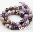 Amythyst gemstone beads, purple, 12mm faceted round. Sold per 15.16-inch strand.
