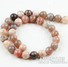 Sunstone beads, red, AB grade, 12mm round. Sold per 15.16-inch strand.